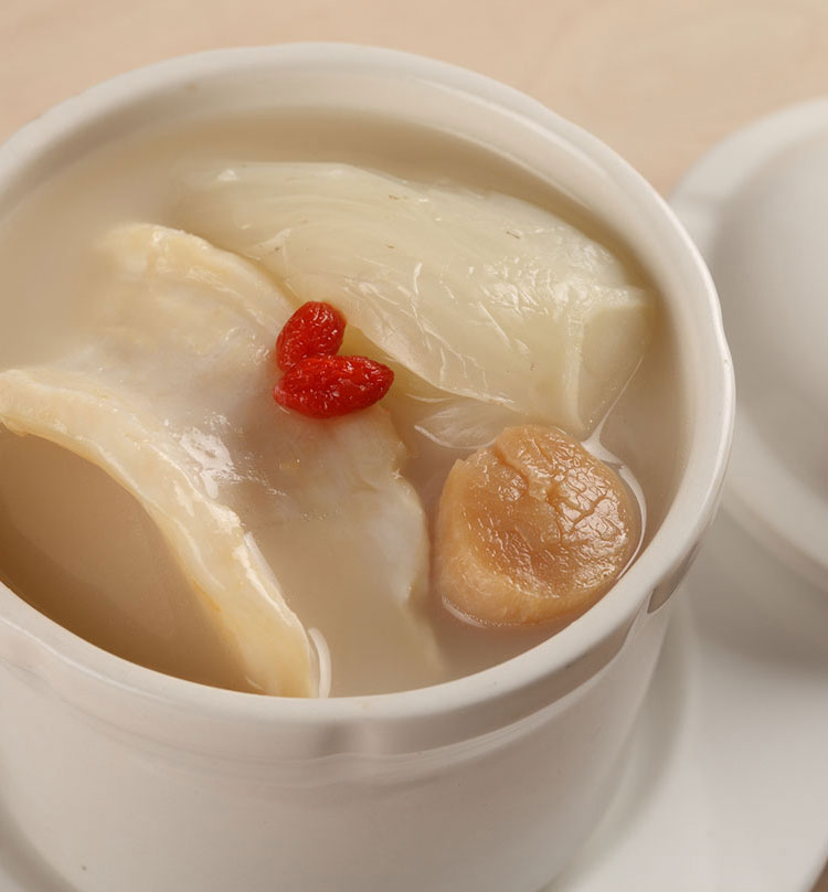 Double Boiled Fish Bone Soup with Dried Fish Maw & Dried Scallop, 花胶瑶柱鱼骨汤