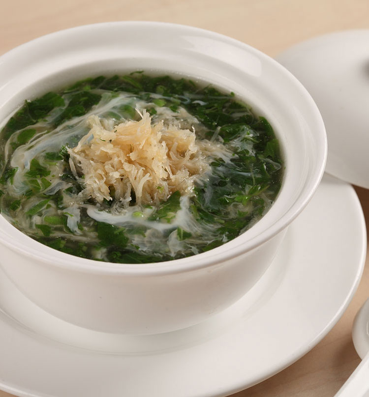 Dried Scallop Thick Soup with Spinach, 翡翠瑶柱羹