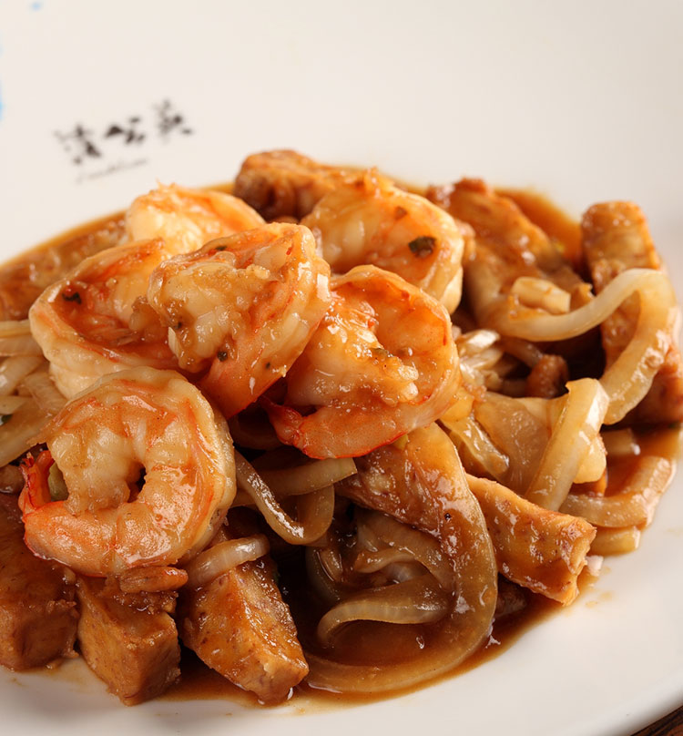 Stir Fried Prawn Medallion with Yam & Shrimp Paste, 渔村香芋炒虾仁